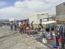 Buying and sellin at the swap meet royalty free stock photo