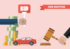Buying selling car from auction. Vector illustration Royalty Free Stock Photo