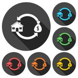 Buying and selling houses icons set with long shadow Stock Images