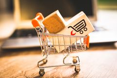 Buying and selling online, idea about digital commerce stock photos