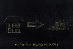 From house to cash with arrow. Buying and selling properties concept: from house to cash with arrow Stock Images