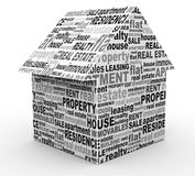 Buying, selling, renting house. Buying selling renting house. Typography concept Royalty Free Stock Images