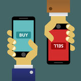 Buying And Selling Using Smartphone Stock Photos