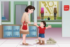 Buying shoes for her kid vector illustration