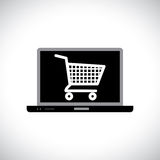 Buying or shopping online using computer. Illustration of buying or shopping online using computer. The graphic contains a laptop and shopping cart icon on its Royalty Free Stock Photo