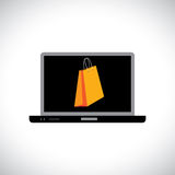 Buying/shopping online using a computer(laptop). The graphic contains a laptop and shopping bag symbol on its screen representing the concept of e-commerce/ Royalty Free Stock Photography
