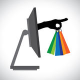 Buying/shopping online using modern technology(PC). Buying/shopping online using a technology(PC). The graphic contains a PC and shopping bag symbol held by a Royalty Free Stock Photos