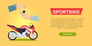 Buying Sportbike Online. Bike Sale. Web Banner. Buying sportbike online bike sale web banner vector illustration. Encouraging people to buy bike. Transport Royalty Free Stock Photography