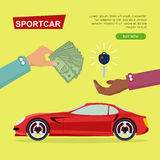 Buying Sportcar Online. Car Sale. Web Banner. Stock Image