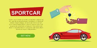 Buying Sportcar Online. Car Sale. Web Banner. Royalty Free Stock Images