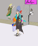 Buying things, lady shopping in the city. A fun and beautiful woman is seen with a smile exiting a boutique store after buying clothes on a shopping spree. She Vector Illustration