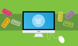 Buying an ticket online. Desktop computer shopping cart mouse flat royalty free illustration