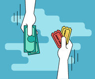 Buying tickets flat line contour illustration of human hand  withdraws cash Royalty Free Stock Photos
