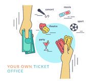 Buying tickets flat line contour illustration of human hand  withdraws cash. Buying tickets. Flat line contour illustration of human hand purchasing two tickets Stock Photography