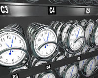 Buying Time Clocks in Snack Vending Machine. Many clocks in a vending machine to illustrate the importance and fleeting nature of time and the desire to buy more Royalty Free Stock Image