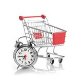 Buying time concept with clock. And shopping cart Royalty Free Stock Image