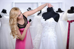 Buying Wedding Dress Royalty Free Stock Photo