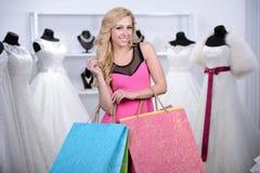 Buying Wedding Dress Stock Photos