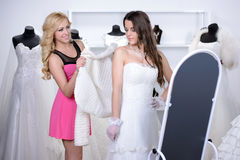 Buying Wedding Dress Royalty Free Stock Photos