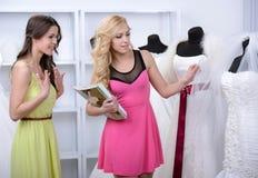 Buying Wedding Dress Stock Images