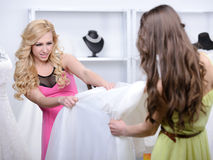 Buying Wedding Dress Royalty Free Stock Photos