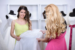 Buying Wedding Dress Royalty Free Stock Photography