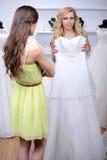 Buying Wedding Dress Royalty Free Stock Image