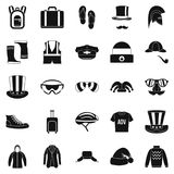 Buying winter clothes icons set, simple style Royalty Free Stock Photography