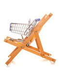Buying your holiday online shopping trolley. Cutout Royalty Free Stock Images