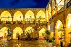 Buyuk Han, medieval Ottoman caravansary at night. Nicosia, Cypru Royalty Free Stock Photo