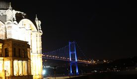 Buyuk Mecidiye Mosque with Bosporus Bridge Stock Images