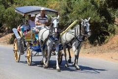 Horse carriage in Prince Island Buyuk ada . Buyukada is the biggest island near Istanbul. Phaeton tour is famous in Turkey. BUYUKADA, TURKEY - JULY 18, 2015 Stock Photos