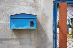 Buzón azul Imagen de archivo libre de regalías
