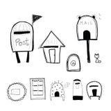 Buzón del estilo del garabato y caja de los posts ilustración del vector