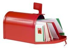 Buzón en blanco llenado de las tarjetas de Navidad Fotografía de archivo libre de regalías