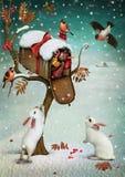 Buzón en bosque del invierno. ilustración del vector