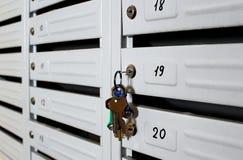 Buzón para las letras y los periódicos con una llave imágenes de archivo libres de regalías