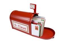 Buzón rojo brillante para Papá Noel Imágenes de archivo libres de regalías