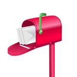 Buzón rojo del vector con las letras Imágenes de archivo libres de regalías
