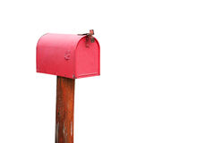 Buzón rojo en el fondo blanco imagen de archivo libre de regalías
