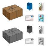 Buzón, tarjeta congratulatoria, sello, sobre Iconos determinados de la colección del correo y del cartero en la historieta, estil libre illustration
