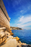 Buza beach outside of the Dubrovnik Old Town walls Stock Photos