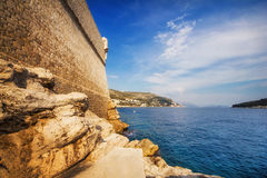 Buza beach outside of the Dubrovnik Old Town walls Royalty Free Stock Photography