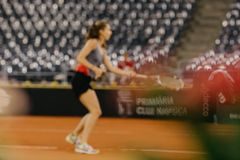 Buzarnescu Mihaela training at Fed Cup 2018 Romania. Buzarnescu Mihaela training at Fed Cup 2018 Cluj Napoca Sport Hall, Switzerland vs Romanian Team Stock Images