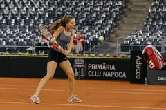 Buzarnescu Mihaela training at Fed Cup 2018 Romania Stock Images