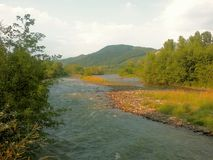 Buzau river in summer season and beautiful moutains view Stock Image