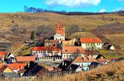Buzd、老中世纪村庄和被加强的教会 transylvania 库存照片