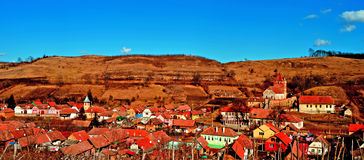 Buzd, altes mittelalterliches Dorf und Wehrkirche transylvania Lizenzfreie Stockfotografie