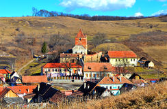Buzd, Stara średniowieczna wioska i warowny kościół, transylvania Zdjęcia Stock