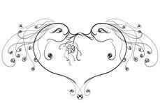 Buziak dwa czarodziejskiego ptaka, serce Obrazy Stock